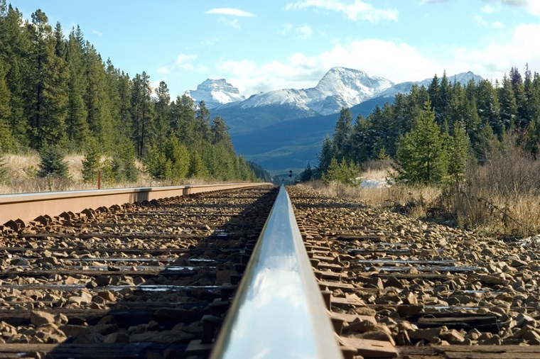 a train track in the Canadian Rockies