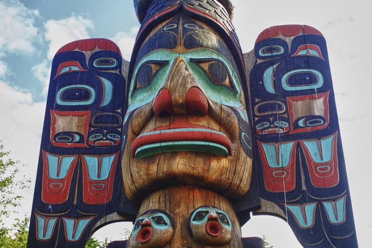 Wooden totem pole in Ketchican, Alaska