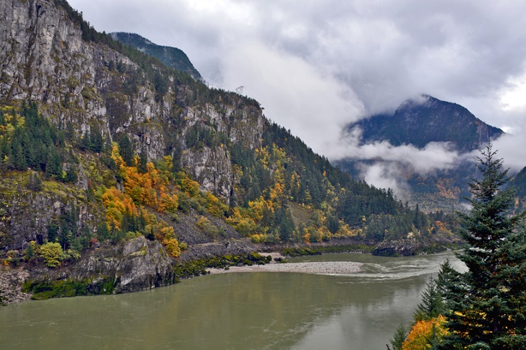 Brown Fraser River flowing in British Columbia, Canada