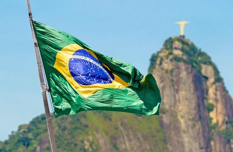 Brazilian waving flag on Rio de Janeiro, Brazil