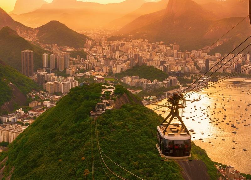 Botafogo, cable car to mountain Sugar Loaf. Rio de Janeiro