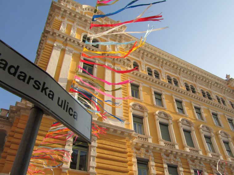Rijeka, carnival time, street perspective and decorations