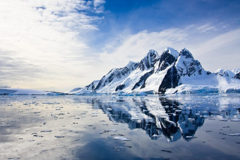 Snow-capped mountains in the Antarctica