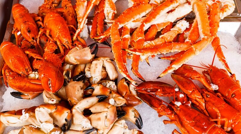 Closeup of lobsters, crabs and king crabs in Bergen fish market, Norway