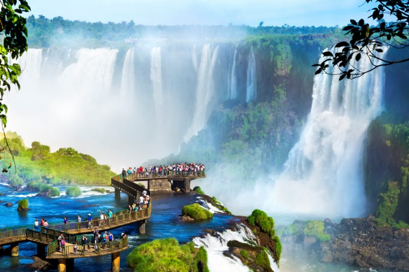 Iguazu Falls, one of the world's great natural wonders, on the border of Brazil and Argentina.
