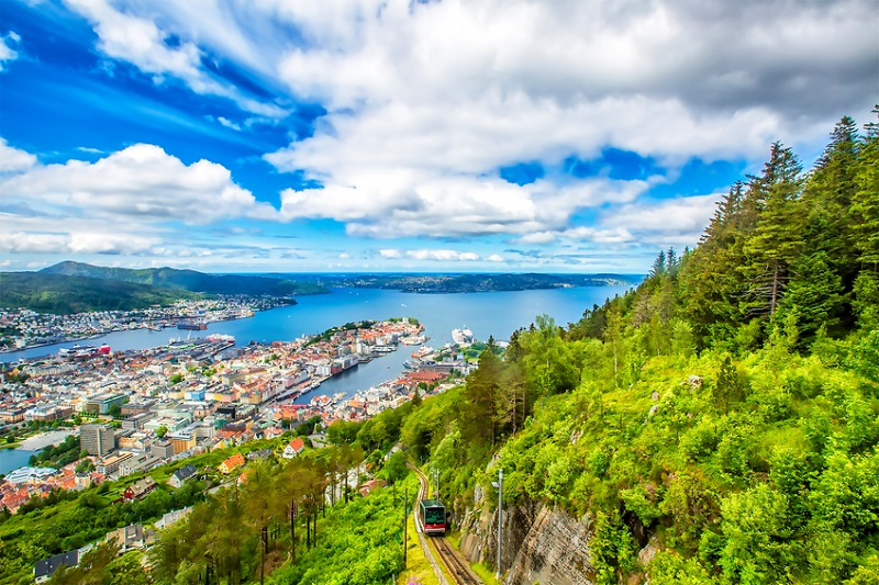 View on Bergen and harbor from the mountain Floyen top. Norway