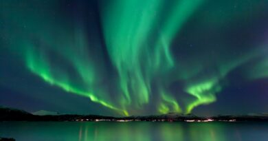 A powerful display of Northern Lights during a geomagnetic storm.