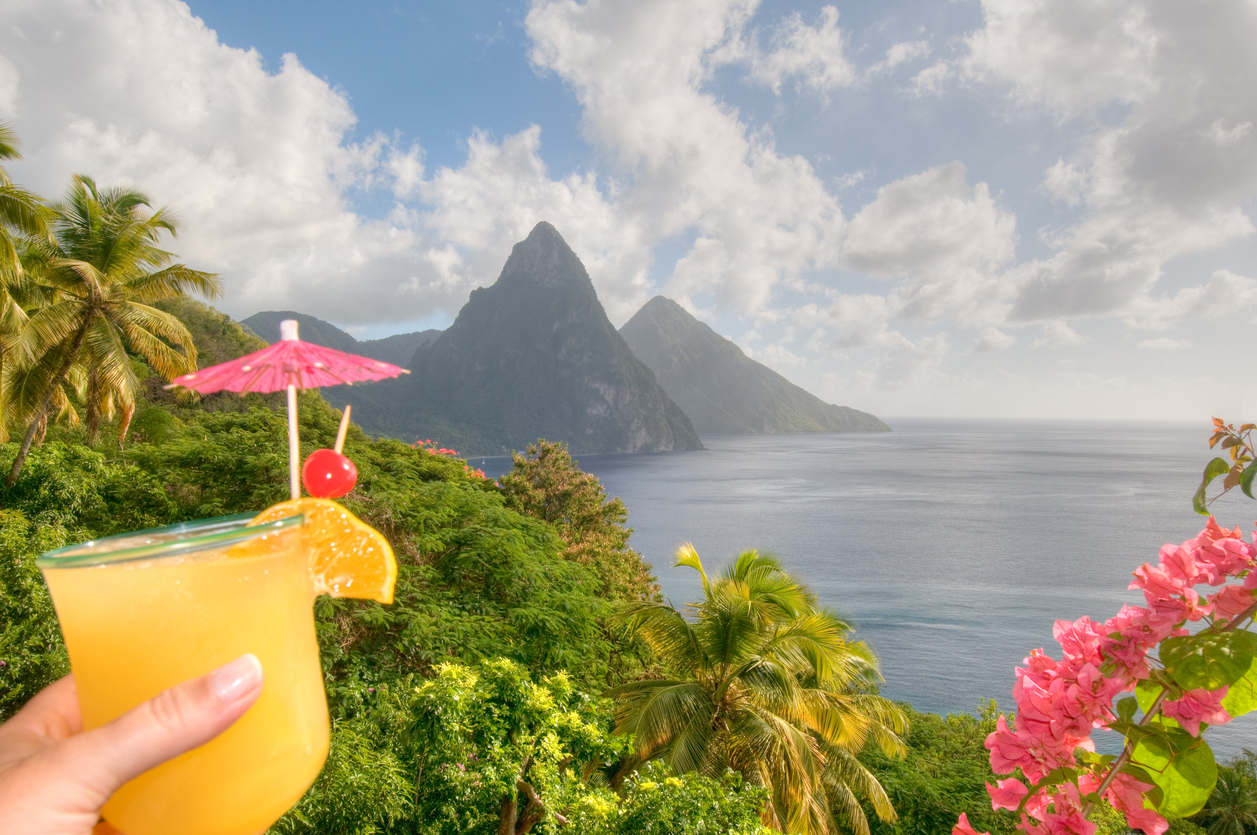 St. Lucia's Twin Pitons and tropical cocktail