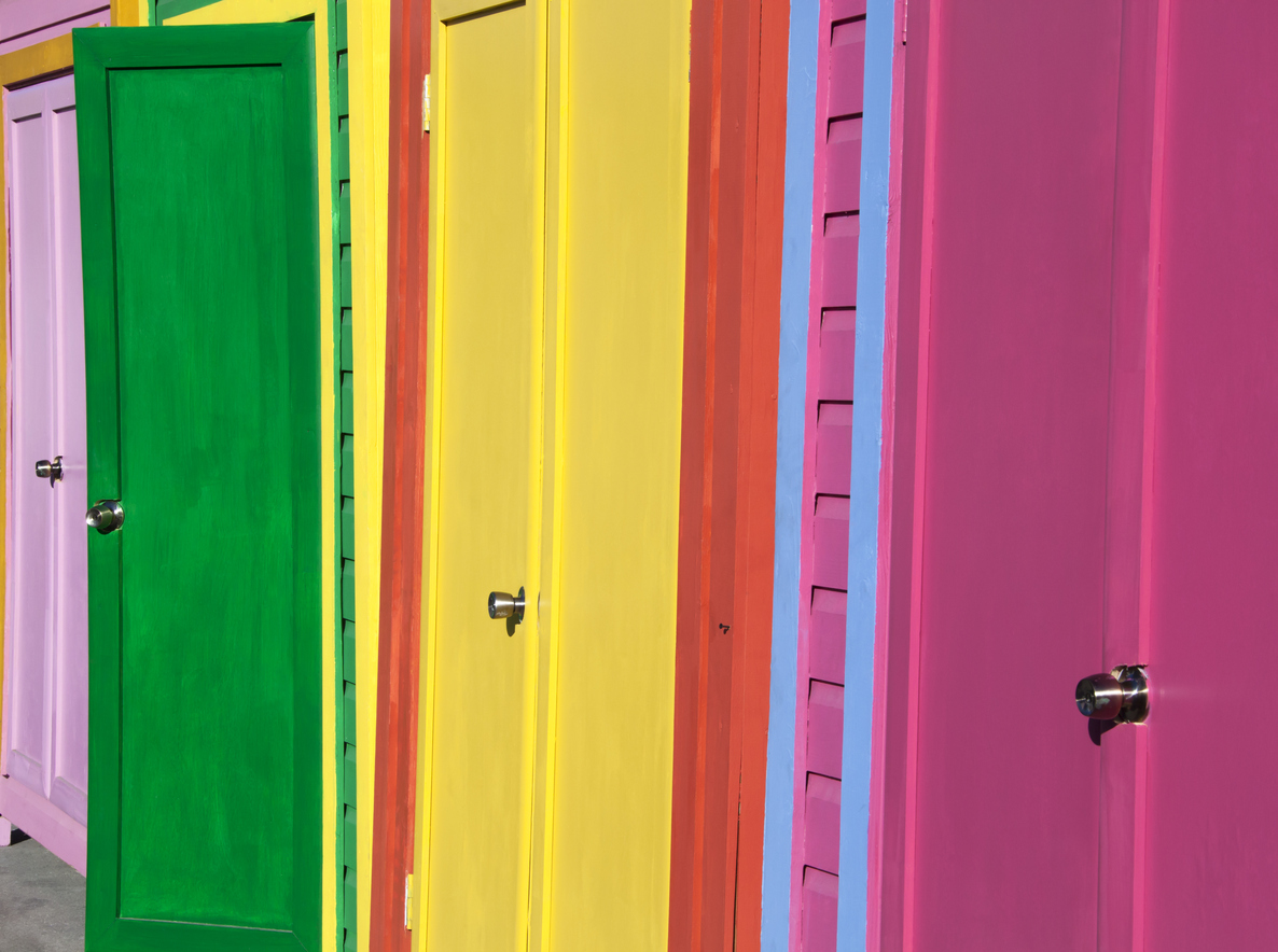 Bright Caribbean colors in a morning light on Nassau city street (The Bahamas).