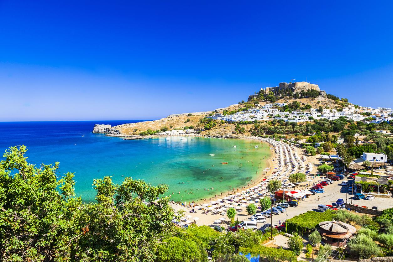 Scenic Rhodes Island,Lindos Bay,Greece