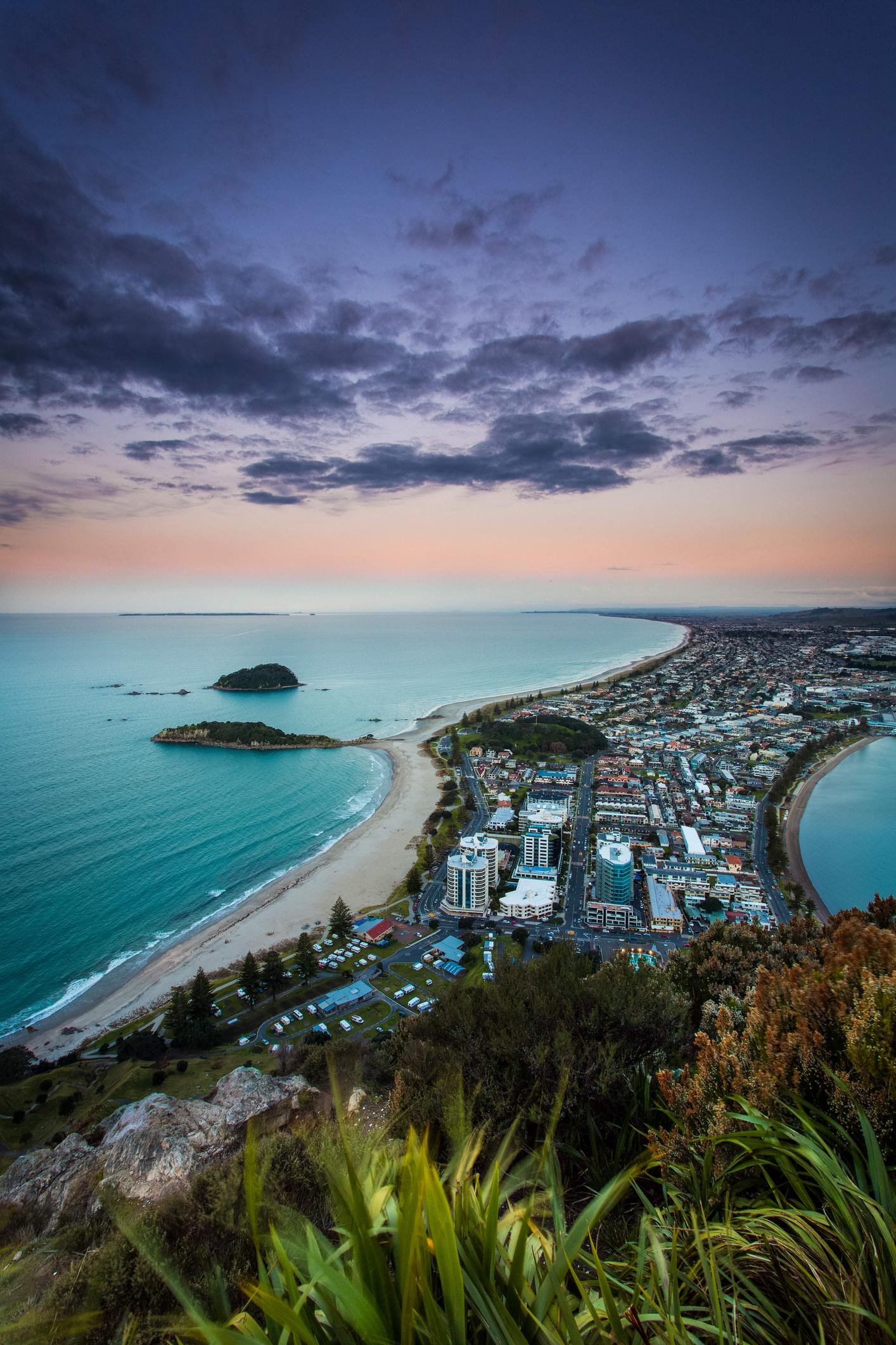 Mount Maunganui Tauranga New Zealand at Sunset top of the mountain