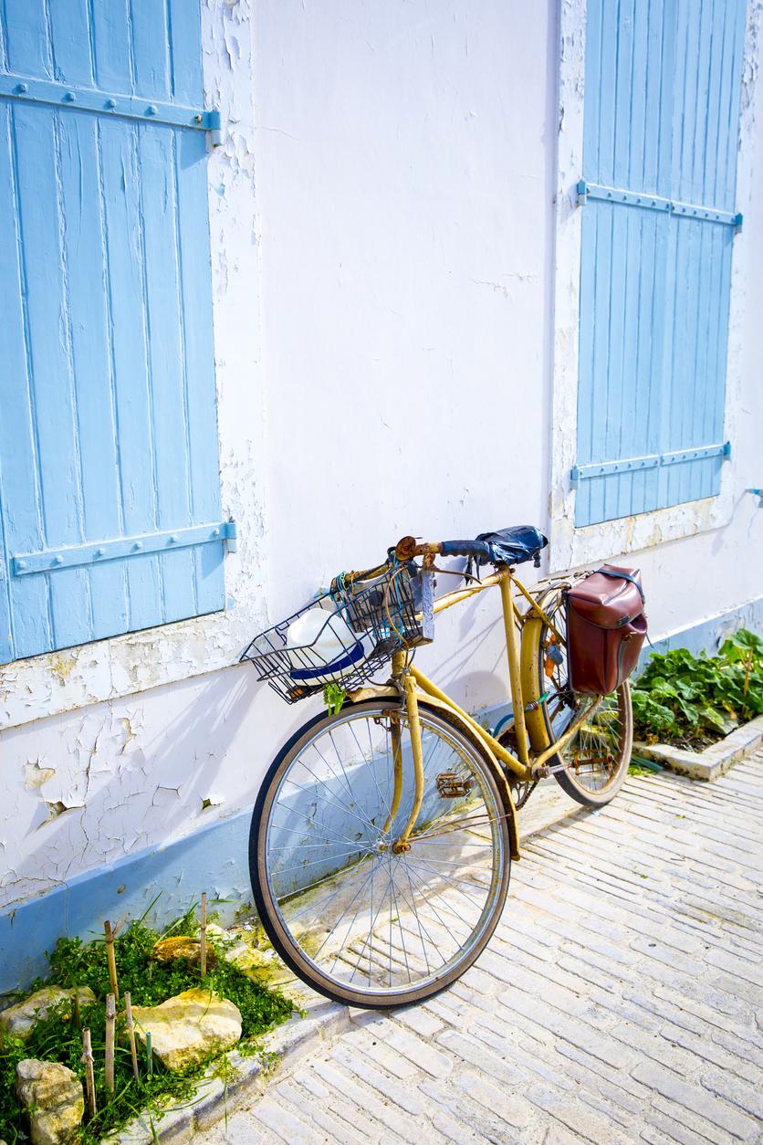 vintage bike in front of seaside house, Ile de Re