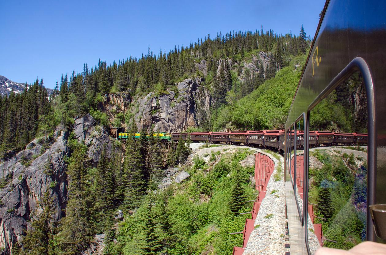 White Pass & Yukon Route Railroad heads into Tunnel Mountain