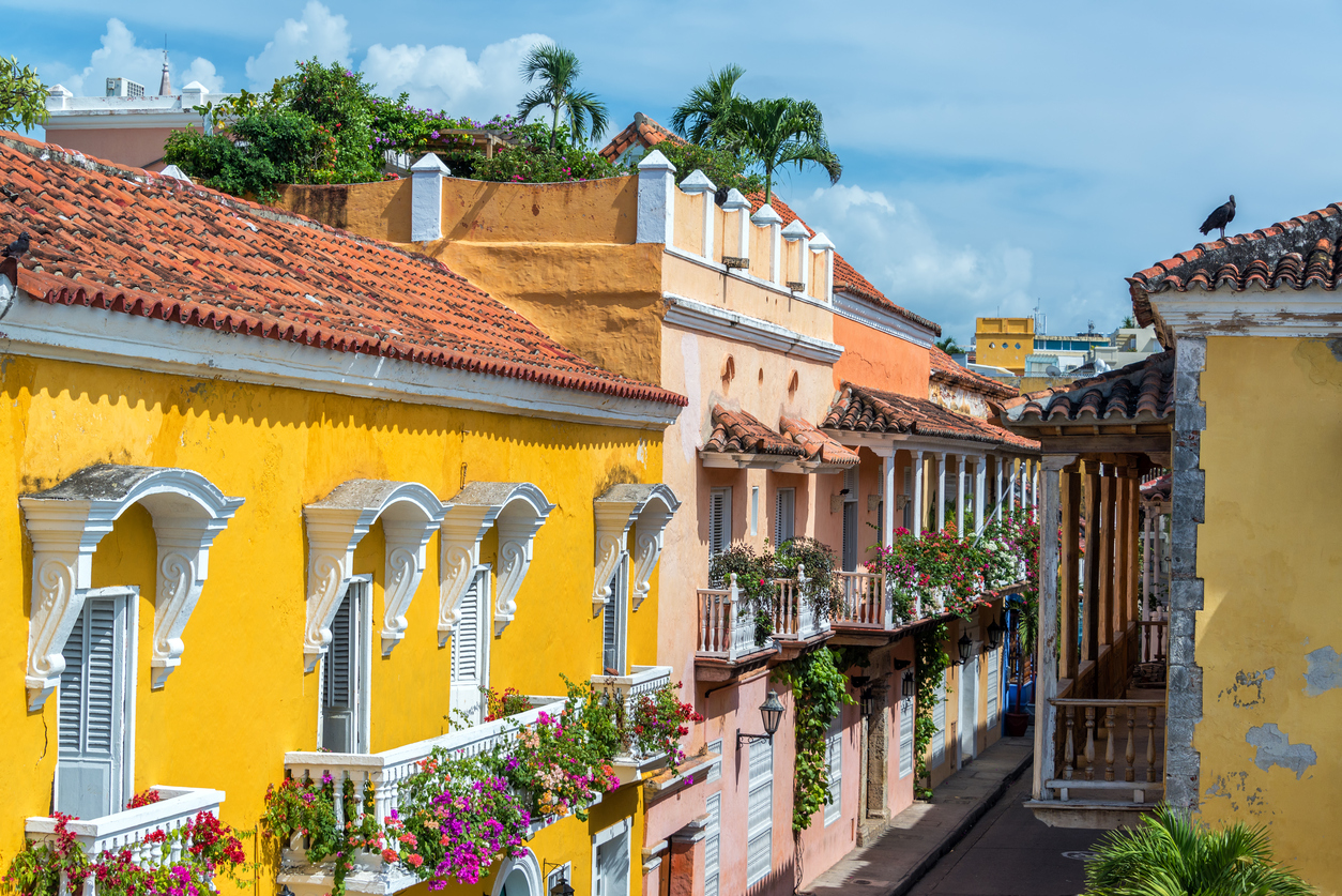 Colonial buildings and balconies in the historic center of Cartagena