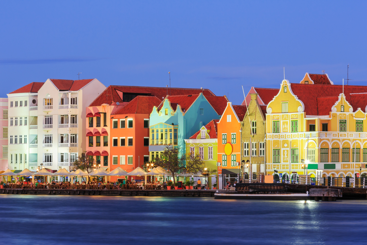 View of downtown Willemstad at twilight. Curacao