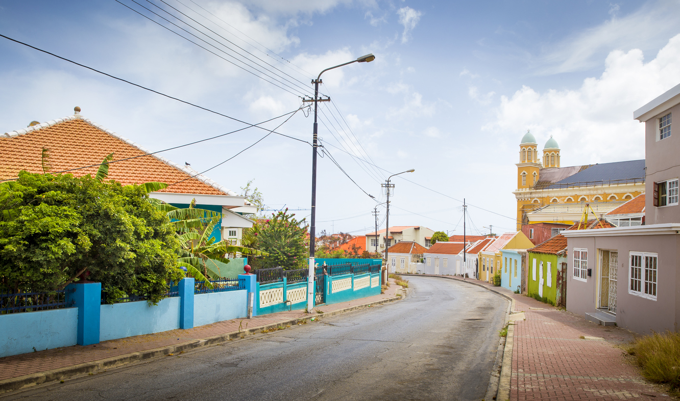 Street full of colorful houses in Willemstad, Curacao