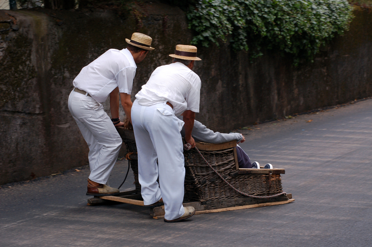 sledge riding in funchal madeira in portugal,interesting traditional and tourist attraction
