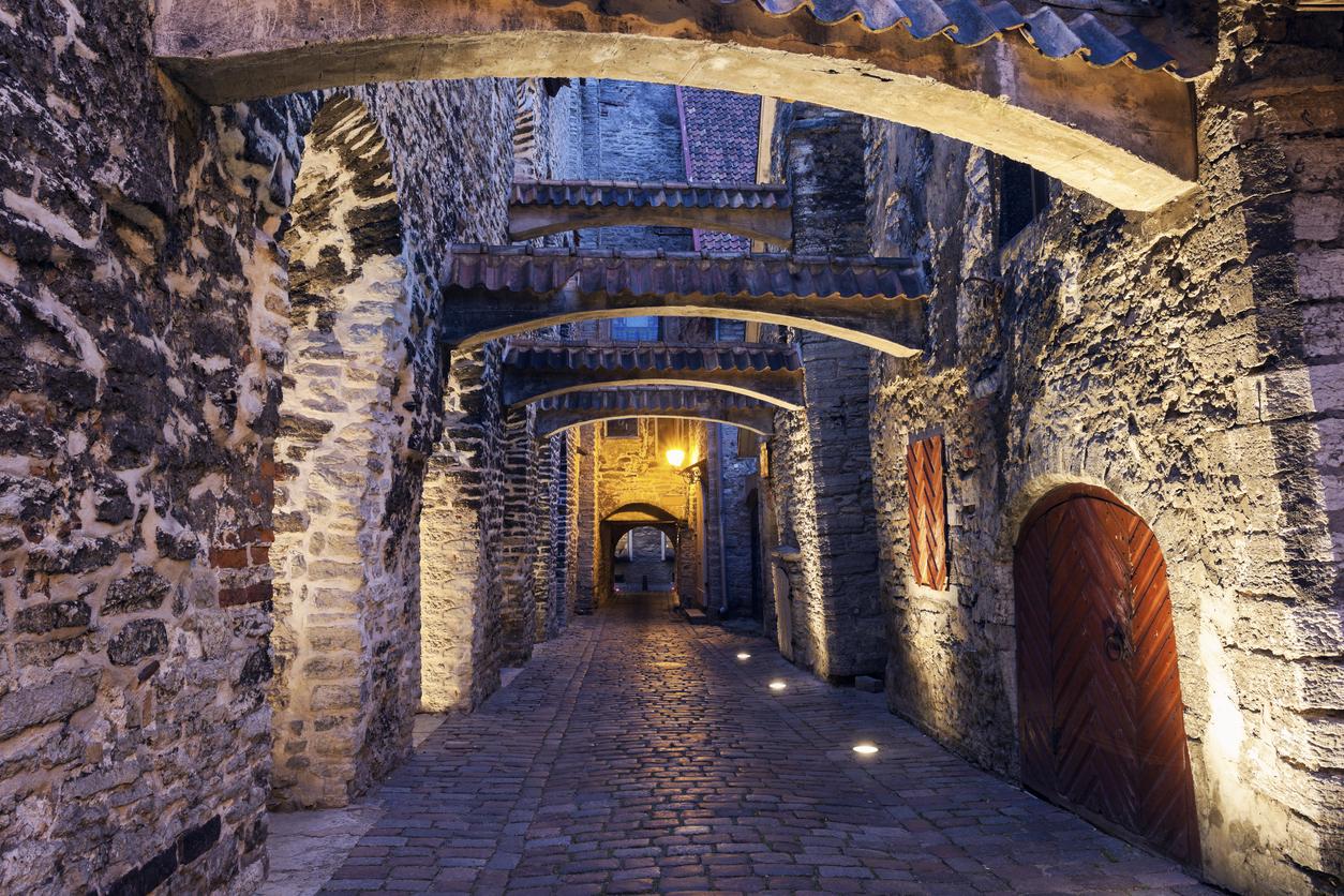 St. Catherine's Passage at night. Tallin, Estonia.