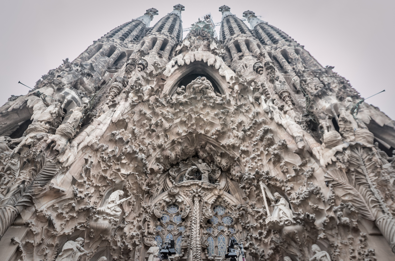 The Sagrada Familia facade in Barcelona