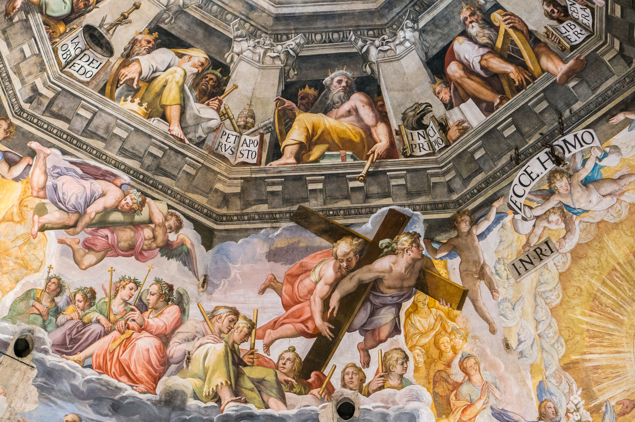 The Last Judgement by Giorgio Vasari and Federico Zuccari, detail from the cupola of the Duomo, Florence, Italy