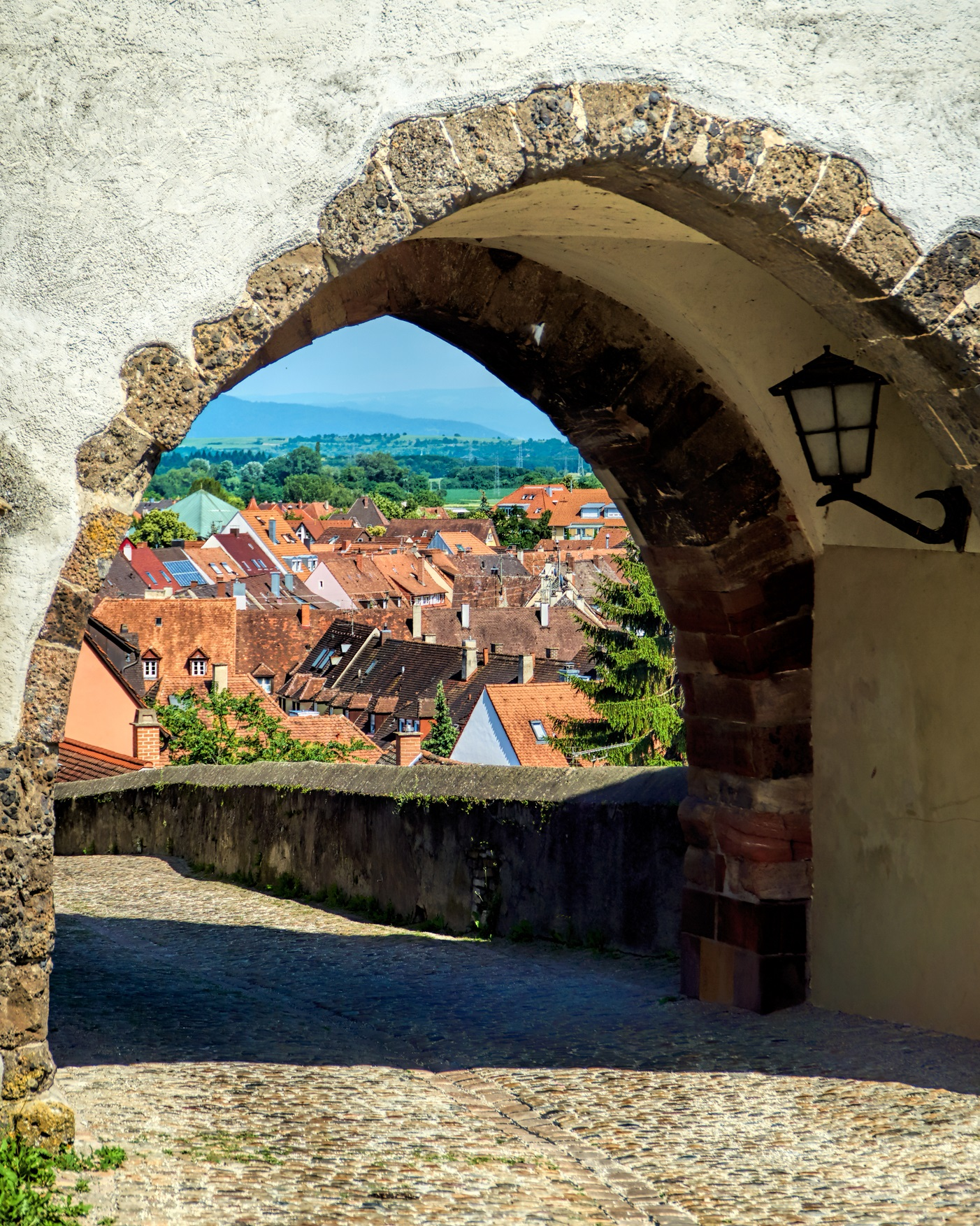 View through the gate from Hagenbach tower on the town of Breisach on the Rhine