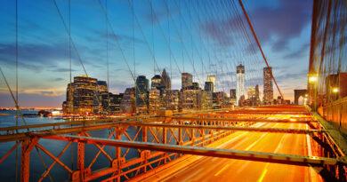 Brooklyn Bridge and Manhattan Evening Skyline