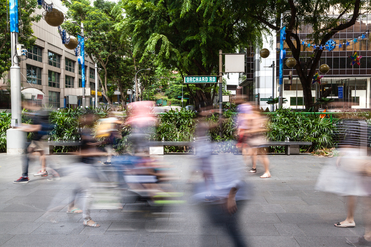 Singapore's Orchard Road With People Motion Blur