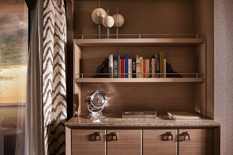 Silver Muse, balsorano suite, bookcase, owner's suite