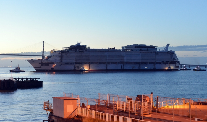 Symphony of the Seas float out from dry dock