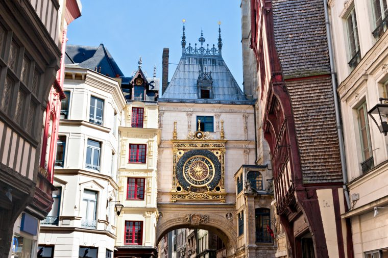 """Half-Timbered Houses and Great Clock at Rouen, Normandy, France"""