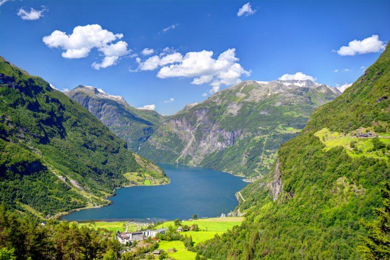 Geiranger, Geirangerfjord in Norway.