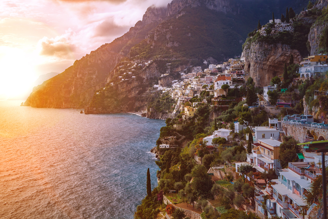 beautiful scenic of positano town mediterranean coast line south