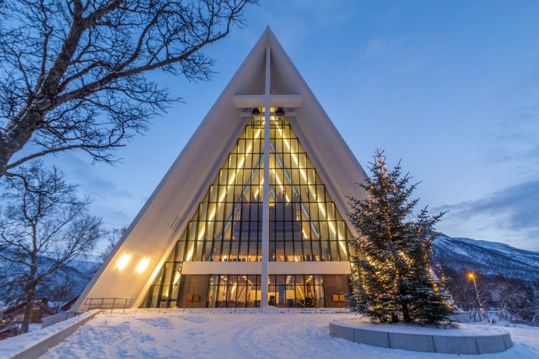 Tromso cathedral during christmas