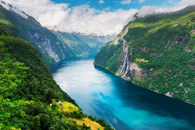 Breathtaking view of Sunnylvsfjorden fjord and famous Seven Sisters waterfalls, near Geiranger village in western Norway