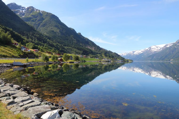 Norway fiord landscape - part of Hardanger Fjord called Sorfjord.