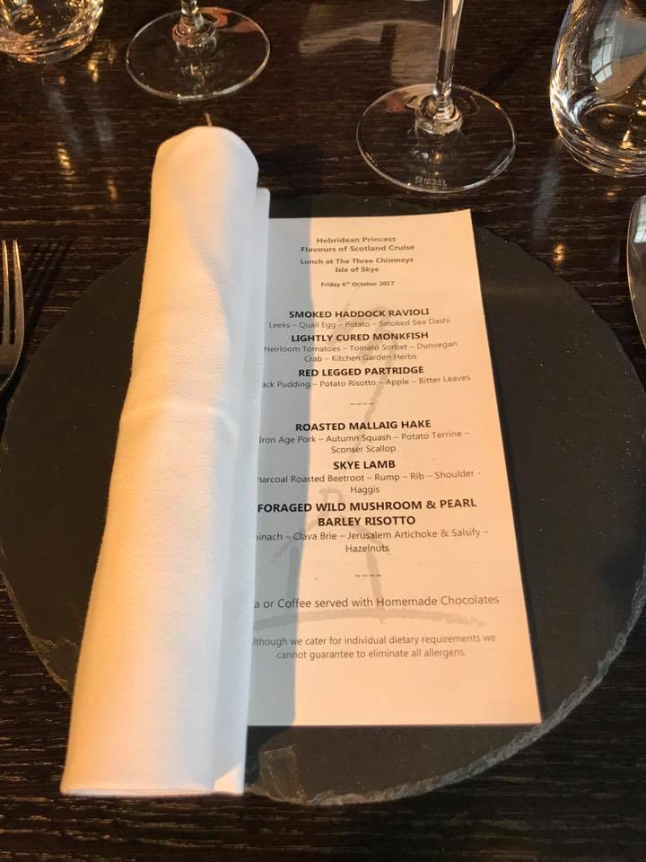 The Three Chimneys menu