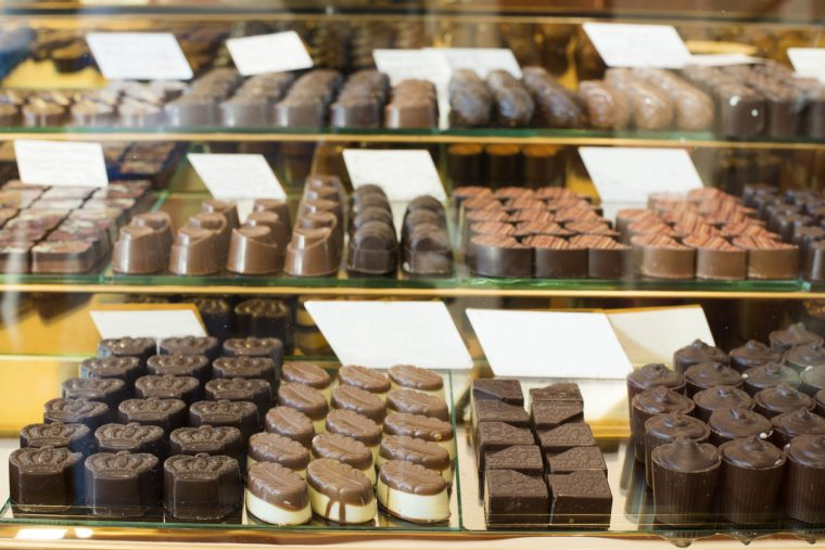 Shop window with selection of specialty chocolates