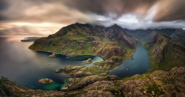 Loch na Cuilce and Loch Coruisk with Black Cuillins in background, Isle of Skye, Scotland